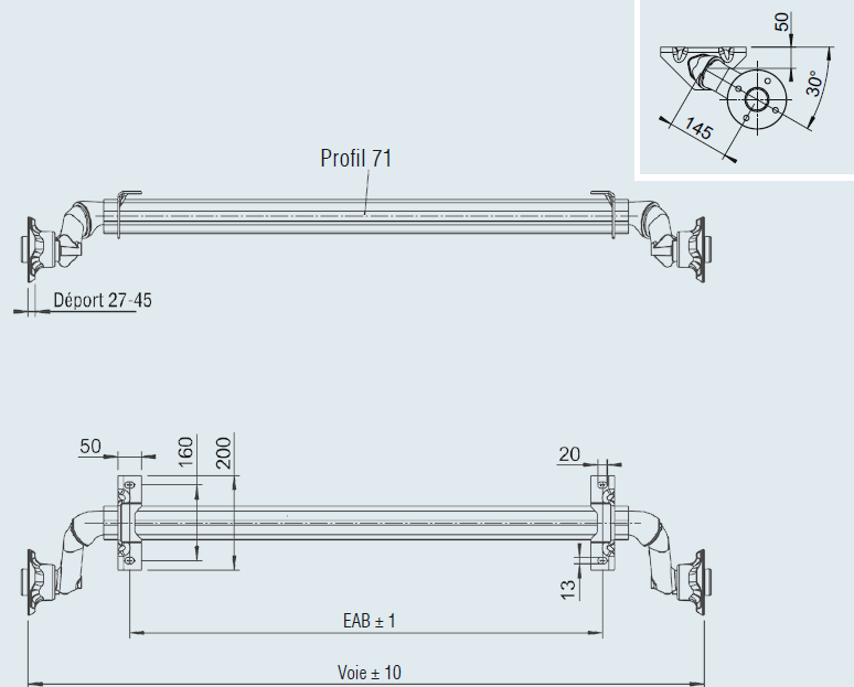 essieux standard non frein s 750 kg franssen. Black Bedroom Furniture Sets. Home Design Ideas