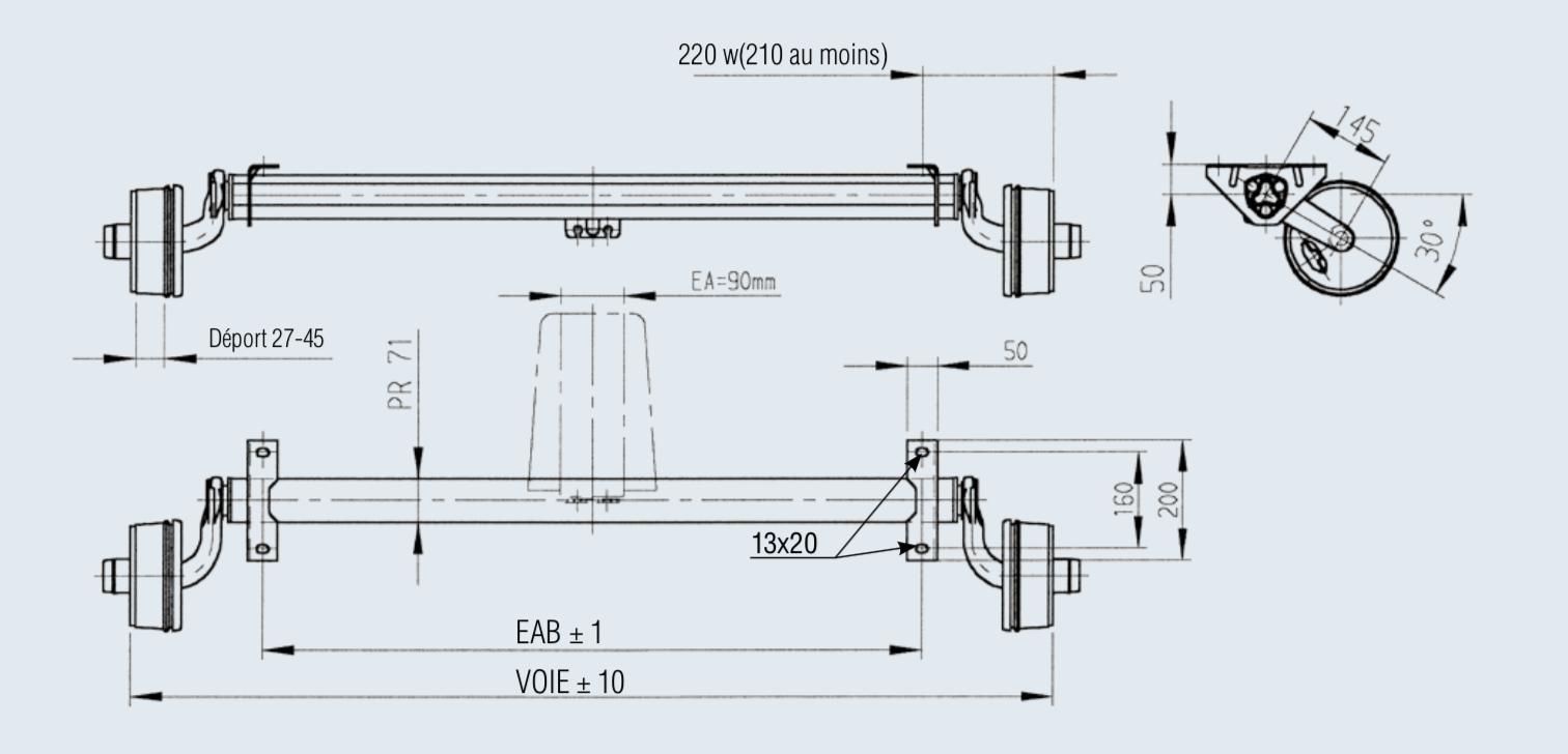 essieux standard frein s 750 kg franssen. Black Bedroom Furniture Sets. Home Design Ideas