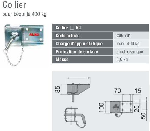 collier béquille 400 kg- kit fixation - Colliers